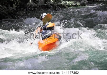 Kayaking, extreme, sport, water, fun, relax - stock photo
