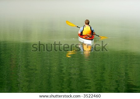 Kayaking in Banff National Park, Canada - stock photo