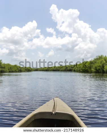 Kayaking in Everglades national park, USA - stock photo