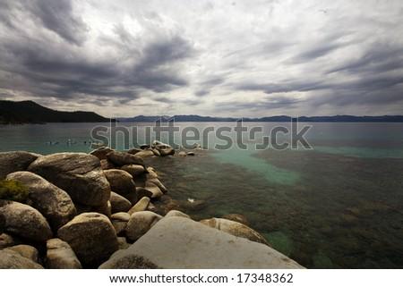 Kayaking on Beautiful Lake Tahoe - stock photo