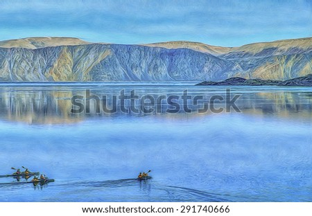 Kayaking on Ellesmere Island fiord,in Canadian High Arctic,digital oil painting - stock photo