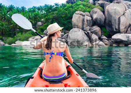 Kayaking on the island - stock photo
