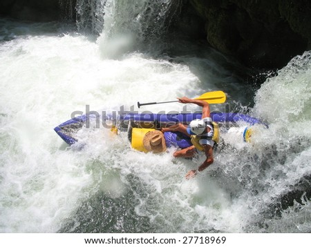 Kayaking the Moho River in Belize - stock photo