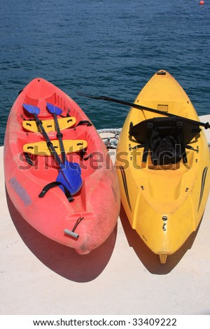 kayaks on dock - stock photo