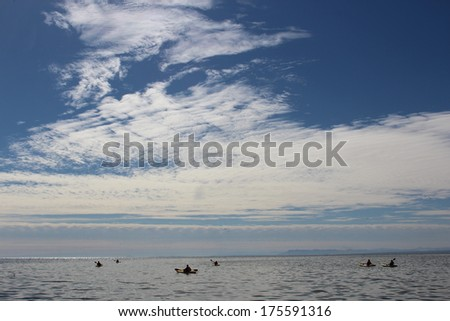 Kayaks on Salton Sea California - stock photo