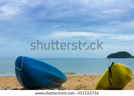 Kayaks on the tropical beach, Kam island,Thailand. - stock photo