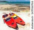Kayaks on the tropical beach, Mu Koh Samet - Khao Laem Ya National Park, Rayong, Gulf of Thailand coast - stock photo