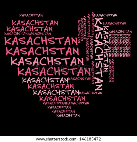 Kazahstan word cloud in pink letters against black background