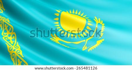 Kazakh flag fluttering in wind. - stock photo