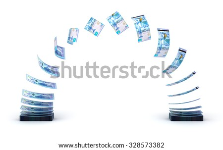 Kazakh Tenge Transfer (isolated with clipping path) - stock photo