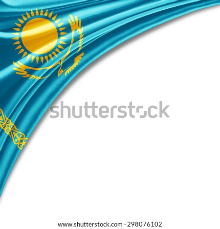 Kazakhstan flag of silk with copyspace for your text or images and white background - stock photo
