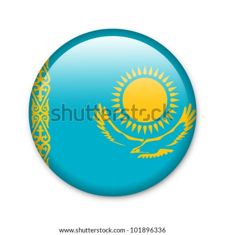 Kazakhstan - glossy button with flag - stock photo
