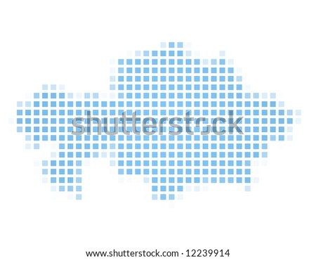 Kazakhstan map square mosaic. Easy to recolor. - stock photo