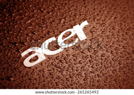 KAZAN, RUSSIA, 15 March 2015: water drops on the Acer logo