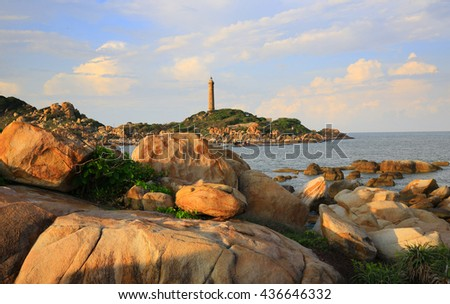 Ke ga lighthouse in Phan Thiet region, Vietnam. View from the shore - stock photo