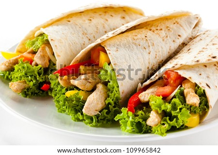Kebab - grilled meat and vegetables - stock photo