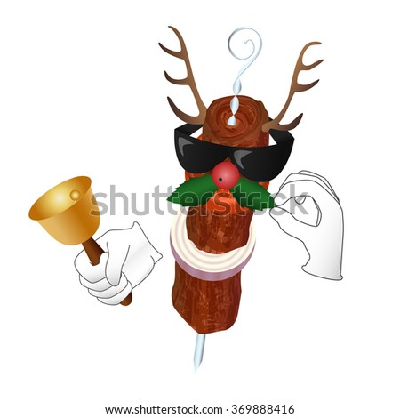 Kebab Reindeer with bell holly berry and sunglasses
