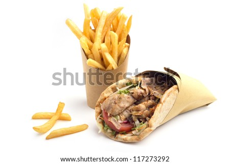 kebab sandwich with french fries on white background - stock photo