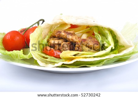 Kebab with vegetable - stock photo