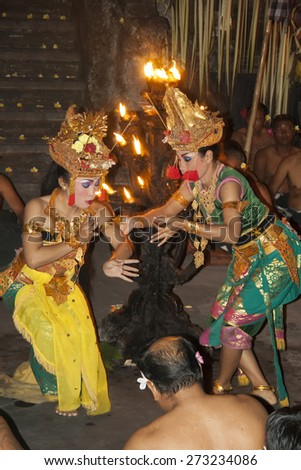 Kecak Balinese dance, Ubud, Bali Tuesday, September 20, 2011 - stock photo