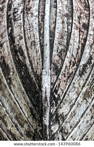 Keel of an old vintage wooden boat - stock photo