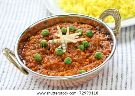 keema curry , indian food - stock photo