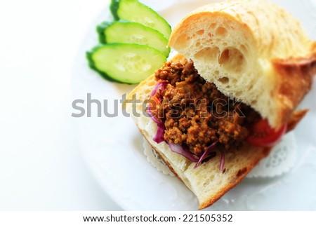 keema curry sandwich for gourmet tea break image - stock photo