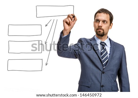 keen entrepreneur draw a block diagram / attractive man in an expensive suit draws a block diagram of a black pen - isolated on white background  - stock photo