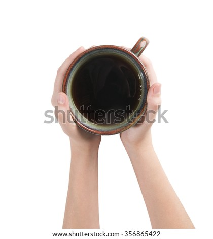 Keep a cup of tea in her hands. Studio photography on a white background. Isolated. - stock photo