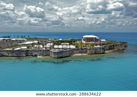Keep and Commissioner's House at the former Royal Naval Dockyard on Ireland Island in Bermuda - stock photo