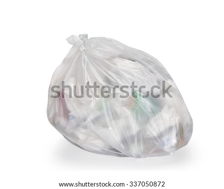 Keep garbage in bag for eliminate isolated on the white background. This has clipping path.  - stock photo