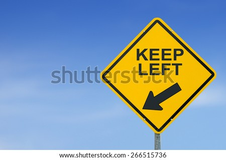 keep left yellow road sign on sky background