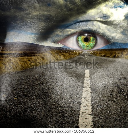 Keep your eye on the road for maximum road safety and reach your destination in good health - stock photo