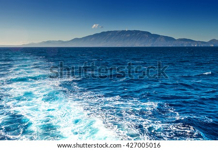 Kefalonia with Mount Ainos Greek island view from Ionian sea - stock photo