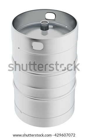Keg beer. Isolated on white background include clipping path. 3d render - stock photo