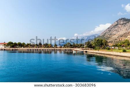 Kemer seaside. View of Mediterranean coast Antalya, Turkey - stock photo