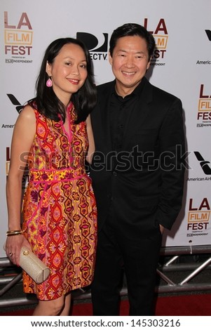 """Ken Jeong and Tran Ho at """"The Way Way Back"""" Premiere as part of the Los Angeles Film Festival, Regal Cinemas, Los Angeles, CA 06-23-13 - stock photo"""