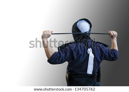kendo player prepare to fight (clipping path) - stock photo