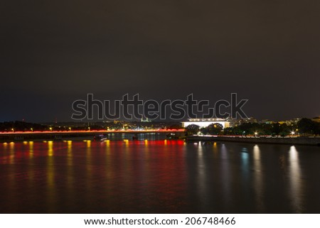 Kennedy Center and Roosevelt Bridge at Night - stock photo