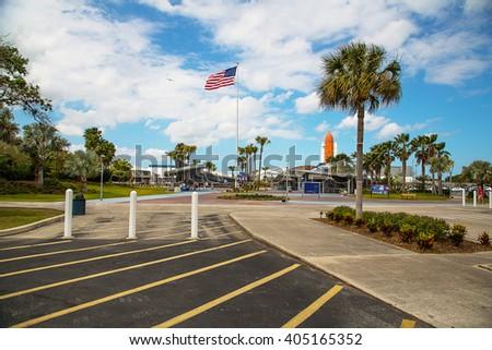 Kennedy space center, Orlando, Florida/USA April 10 2014: Entrance to the NASA space center. - stock photo
