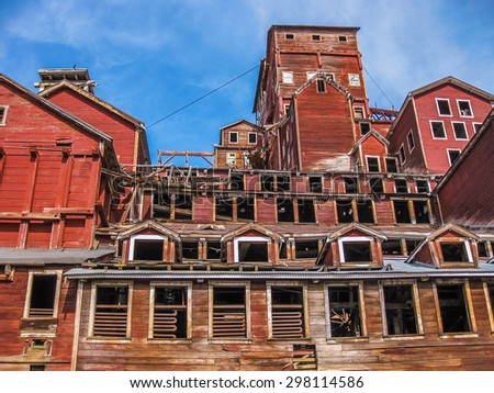 Kennicott, Alaska, United States - August 4, 2009: the ghost town Kennicott is part of Wrangell St. Elias National Park. This abandoned copper mining camp is a National Historic Landmark District. - stock photo