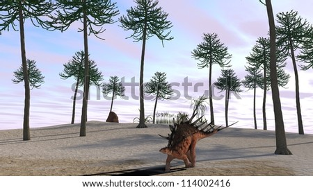kentrosaurus on shore - stock photo