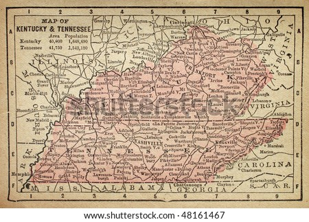 Kentucky and Tennessee, circa 1880. See the entire map collection: http://www.shutterstock.com/sets/22217-maps.html?rid=70583 - stock photo