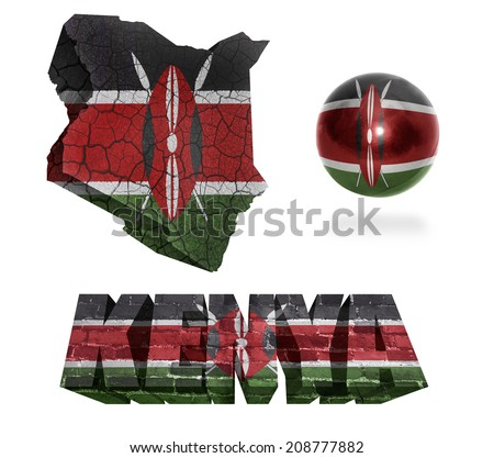 Kenya flag and map in different styles in different textures - stock photo