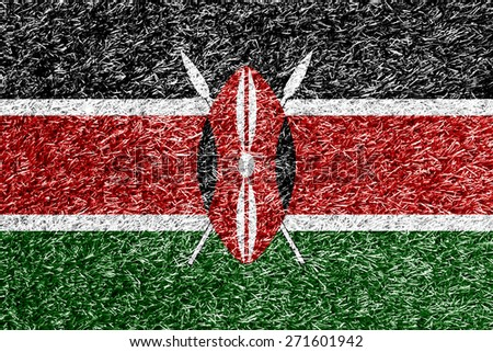 Kenya flag on grass background texture - stock photo