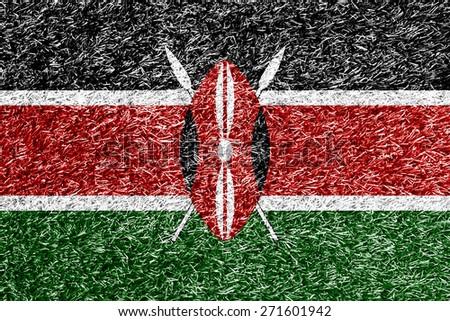Kenya flag on grass background texture - stock photo