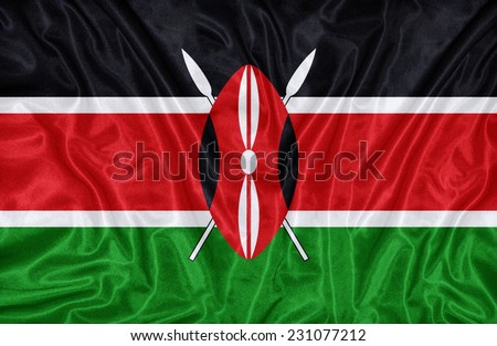 Kenya flag pattern on the fabric texture ,vintage style - stock photo