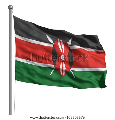 Kenya flag. Rendered with fabric texture (visible at 100%). Clipping path included. - stock photo