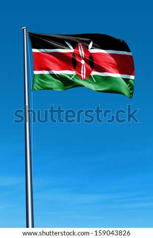 Kenya flag waving on the wind - stock photo