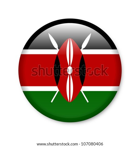 Kenya - glossy button with flag - stock photo